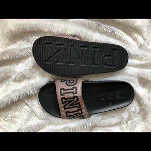 Pink slip on sandals